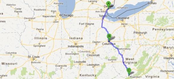 Detroit To Blue Ridge Mountains Of Virginia Somewheresville